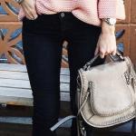 2019 Moda Renkleri Pembe Boğazlı Salaş Kazak Siyah Dar Pantolon