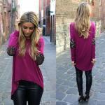 2019 Moda Renkleri Pembe Uzun Kollu Bluz Siyah Deri TAyt
