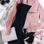 2019 Moda Renkleri Siyah Kısa Askılı Elbise Pembe KIsa Spor Ceket
