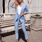 2020 Ofis Kombinleri Bebek MAvisi Pantolon Beyaz V Yakalı Bluz Kısa Bağcıklı Ceket