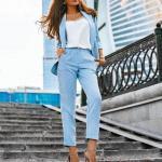 2020 Ofis Kombinleri Bebek Mavisi Pantolon Beyaz Bluz Kısa Ceket