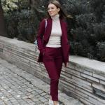 2020 Ofis Kombinleri Bordo Pantolon Krem Boğazlı Bluz Uzun Ceket