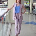 2020 Ofis Kombinleri Eflatun Pantolon Mavi Bluz Kısa Yakalı Yelek