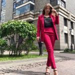 2020 Ofis Kombinleri Fuşya Pantolon Siyah Bluz Yakalı Ceket