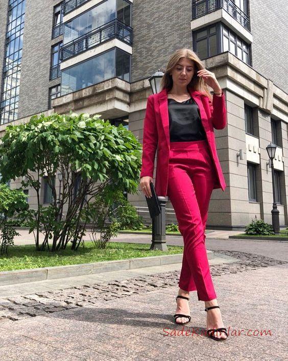2019 Ofis Kombinleri Fuşya Pantolon Siyah Bluz Yakalı Ceket
