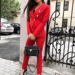 2020 Ofis Kombinleri Kırmızı PAntolon Siyah Bluz Kırmızı Aksesuar Düğme Detaylı Ceket