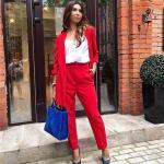 2020 Ofis Kombinleri Kırmızı Pantolon BEyaz Bluz Uzun Ceket