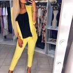 2020 Ofis Kombinleri Sarı Pantolon Siyah Bluz Kısa Ceket