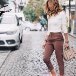 2019 Ofis Şıklığı İçin Kahverengi Capri Pantolon Beyaz Uzun Kollu Bluz