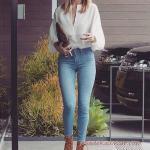 2019 Ofis Şıklığı İçin Mavi Kot Pantolon Beyaz Uzun Kollu Gömlek