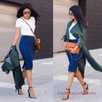 2019 Ofis Şıklığı İçin Saks Mavi Kalem Etek Beyaz Kısa Kollu Bluz Yeşil Uzun Ceket