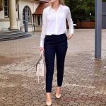 2019 Ofis Şıklığı İçin Siyah Cepli PAntolon Beyaz Uzun Kollu Gömlek