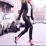2019 Ofis Şıklığı İçin Siyah Deri Pantolon Beyaz Bluz Siyah Spor Ceket