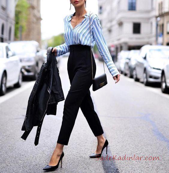 2019 Ofis Şıklığı İçin Siyah Kalem Pantolon Beyaz Çizgili Uzun Kollu Gömlek
