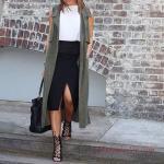 2019 Ofis Şıklığı İçin Siyah Midi Yırtmaçlı Etek Beyaz Kolsuz Bluz Yeşil Uzun Yelek