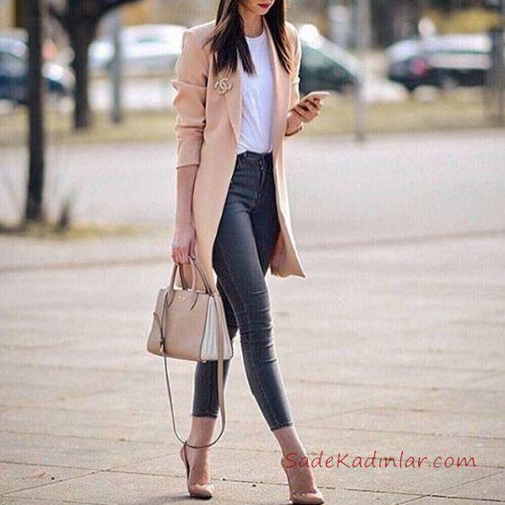 2019 Ofis Şıklığı İçin Siyah Pantolon Beyaz Tişört Yavruağzı Uzun Ceket