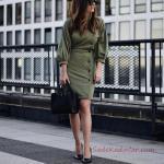 2019 Ofis Şıklığı İçin Yeşil Kısa Balon Kol Düğme Detaylı Elbise