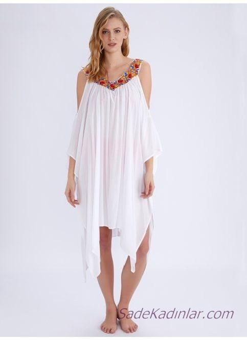 2019 Plaj Elbisesi Modelleri Beyaz Askılı Düşük Kol Omzu Açık Boncuk İşlemeli