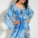 2019 Plaj Elbisesi Modelleri Mavi Geniş Yaka Uzun kollu Büzgülü Desenli