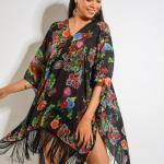 2019 Plaj Elbisesi Modelleri Siyah V Yakalı Kısa Kollu Püsküllü Desenli