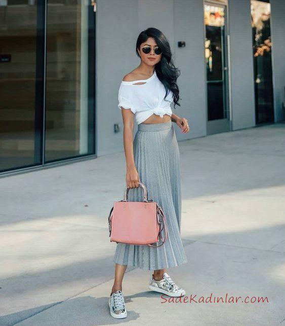 2019 Tarz Kombinler Gri Uzun pileli Etek Beyaz Kısa Asimetrik Tişört Outfits
