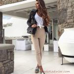 2019 Tarz Kombinler Krem Pantolon Beyaz Bluz Siyah Deri Ceket Outfits