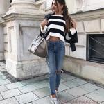 2019 Tarz Kombinler Mavi Yırtık Pantolon Siyah Beyaz Kısa Kazak Deri Ceket Outfits