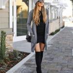 2019 Tarz Kombinler Siyah Kısa Triko Elbise Gri Uzun Hırka Outfits