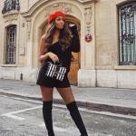 2019 Tarz Kombinler Siyah Kısa Şort Siyah Tek Omzu Açık Detaylı Bluz Outfits