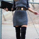 2020 Bayan Kış Modası Triko Elbise Gri Kısa Belden Kemer Detaylı