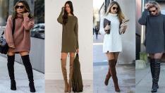 2019 Triko Elbise Modelleri Soğuk Kış Günlerinde Sıcak ve Şık