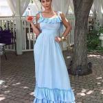 2020 Uzun Elbise Modelleri Bebek Mavisi Uzun Askılı Kolsuz Fırfırlı