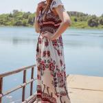 2020 Uzun Elbise Modelleri Beyaz Uzun V Yakalı Japone Kol Desenli