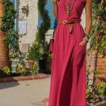 2020 Uzun Elbise Modelleri Fuşya Uzun Askılı Önden Cepli