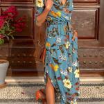 2020 Uzun Elbise Modelleri Mavi Uzun Kruvaze Yaka Cepli Yetim Kol Desenli