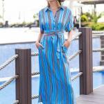 2020 Uzun Elbise Modelleri Mavi Uzun Yakalı Kısa Kol Çizgi Desenli