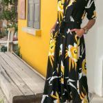 2020 Uzun Elbise Modelleri Siyah Uzun Yakalı Kısa Kol Cepli Desenli