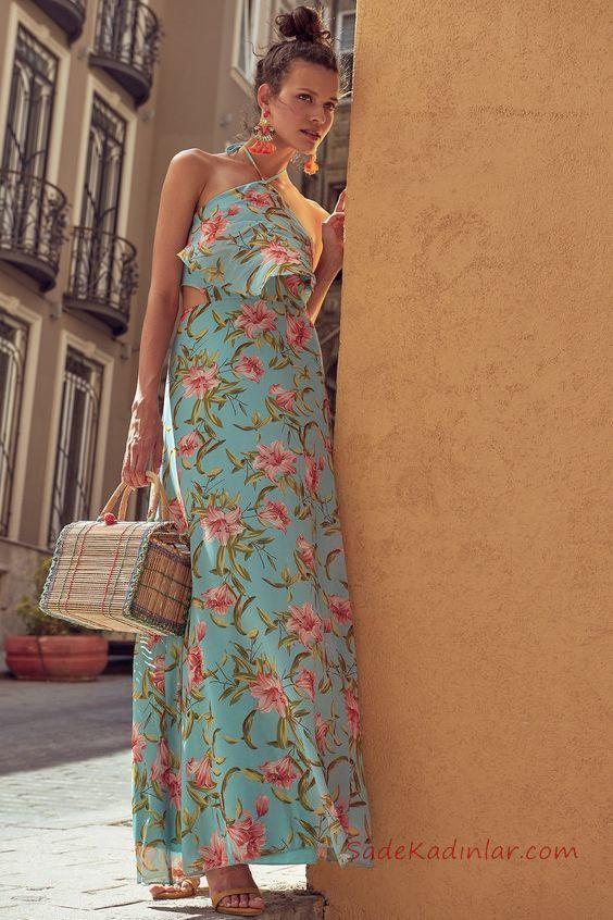 2019 Uzun Elbise Modelleri Yeşil Uzun Halter Yaka Fırfır Detaylı Desenli