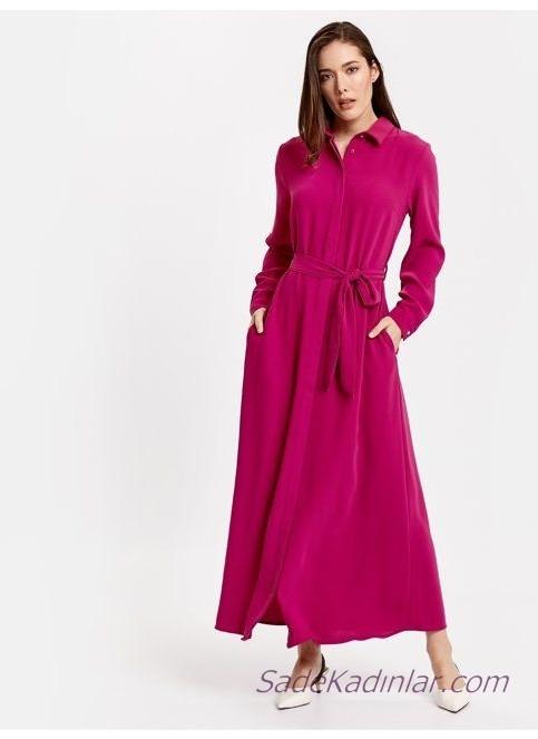 2019 Uzun Kollu Elbise Modelleri Fuşya Yakalı Düğmeli Kumaş Kemerli Yandan Cepli