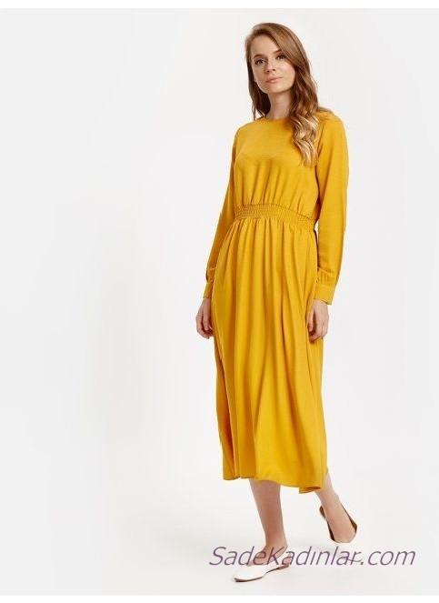 2019 Uzun Kollu Elbise Modelleri Sarı Yuvarlak Yaka Bel Kısmı Büzgülü Lastik Detaylı