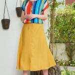 2020 Yaz İçin Günlük Etek Kombinleri Sarı Midi Etek Mavi Kısa Kol Renk Bloklu Bluz