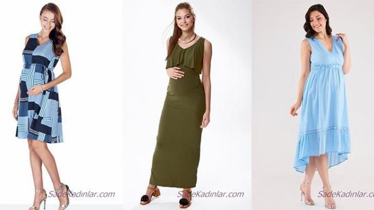 2019 Yazlık Hamile Elbiseleri Anne Adayları İçin Şık ve Rahat Elbiseler