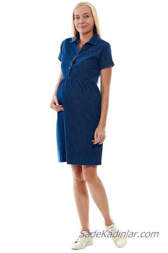 2020 Yazlık Hamile Elbiseleri Lacivert Kısa Yakalı Kısa Kol Düğmeli