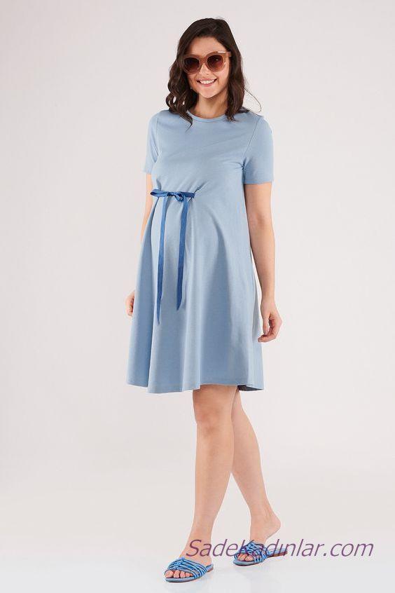 2020 Yazlık Hamile Elbiseleri Mavi Kısa Belden Kurdela Fiyonklu Kısa Kollu Sade