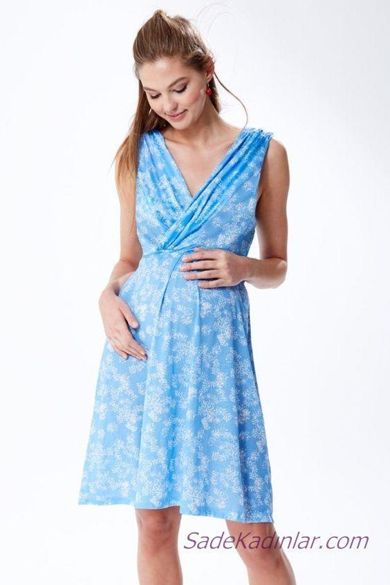 2020 Yazlık Hamile Elbiseleri Mavi Kısa Kruvaze Yaka Kolsuz Çiçek Desenli
