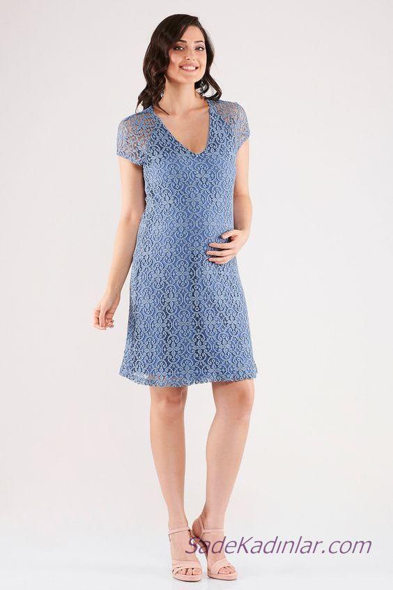 2020 Yazlık Hamile Elbiseleri Mavi Kısa V Yakalı Kısa Kollu Desenli Kumaşlı