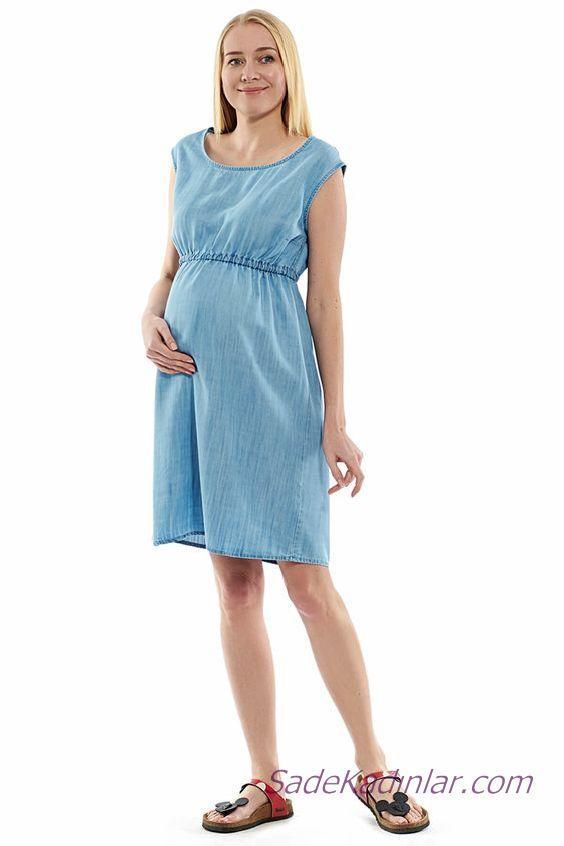 2020 Yazlık Hamile Elbiseleri Mavi Kot Kolsuz Gebiiş Yaka Belden Lastikli