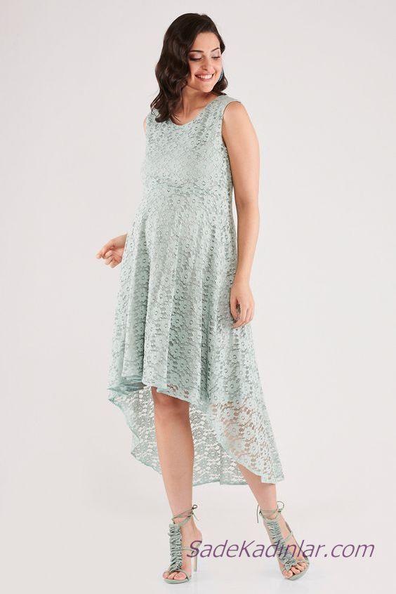 2019 Yazlık Hamile Elbiseleri Mint Yeşil Ön Kısa Arkası Uzun Kolsuz Askılı Dantel