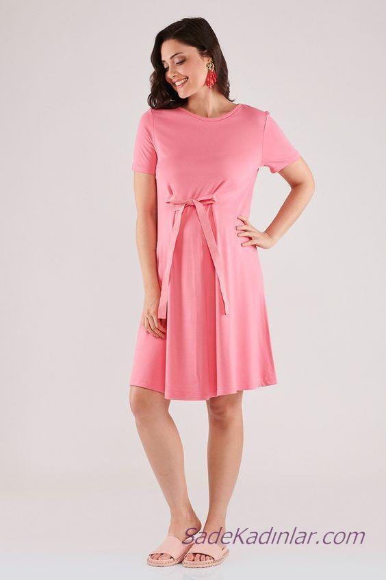 2020 Yazlık Hamile Elbiseleri Pembe Kısa Önden Fiyonk Bağcıklı Kısa Kollu Sade