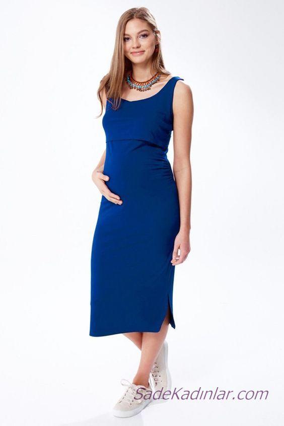 2020 Yazlık Hamile Elbiseleri Saks MAvi Midi Kolsuz Askılı Yandan Küçük Yırtmaçlı